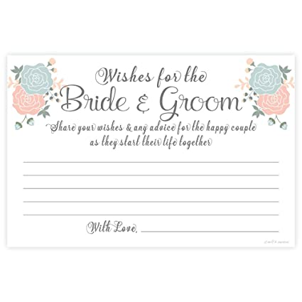 93ca9ac9739 Amazon.com  Garden Blooms Wishes for the Bride and Groom Cards (50 Count)- Wedding  Guest Activity  Kitchen   Dining