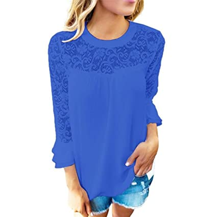 Camisas Mujer,Modaworld Mujeres 3/4 Sleeve Frill Tops Blusa de Camisa