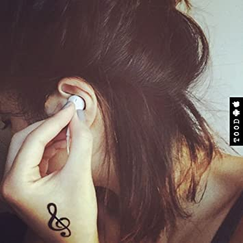 Amazon com : Music Note Symbol Temporary Fake Tattoo Sticker