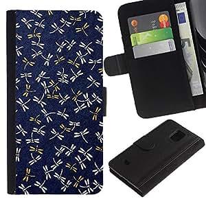 Azul marino Patrón Gold Spring- la tarjeta de Crédito Slots PU Funda de cuero Monedero caso cubierta de piel Para Samsung Galaxy S5 Mini (Not S5), SM-G800