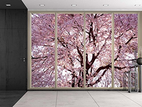 Wall26 - Branches Filled with Pink Cherry Blossom Flowers Viewed From Sliding Door - Creative Wall Mural, Peel and Stick Wallpaper, Home Decor - 100x144 inches