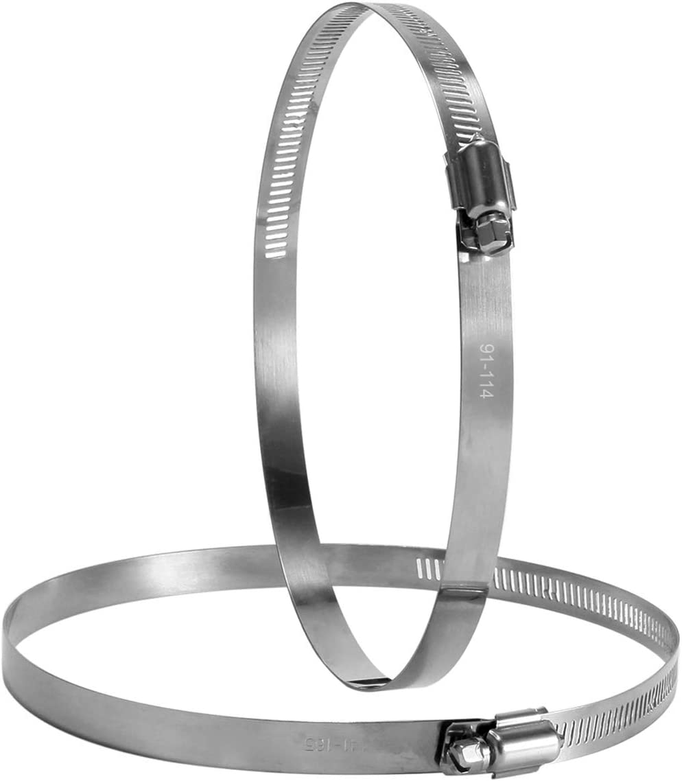 """Hon&Guan 5"""" Stainless Steel Hose Clips Duct Clamps Adjustable Worm Drive Hose Clamp for Inline Duct Fan Pack of 2 (125mm)"""