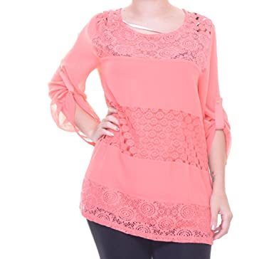 539c64e1c3ead3 Calvin Klein Women s Mixed Lace Roll Sleeve at Amazon Women s Clothing  store