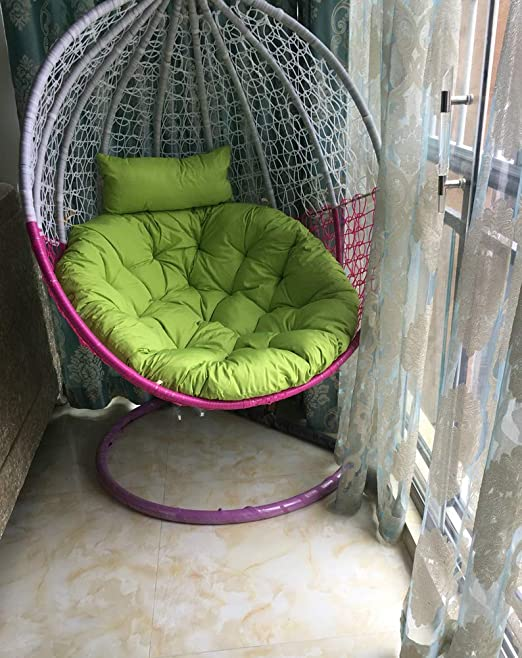 Suspendue Coussin, Patio Jardin Swing en Osier Rotin Oeuf Chaise Hamac  Coussin Mat, IndoOu Ou Plein air-sans Stand-Vert 105x105cm(41x41inch)