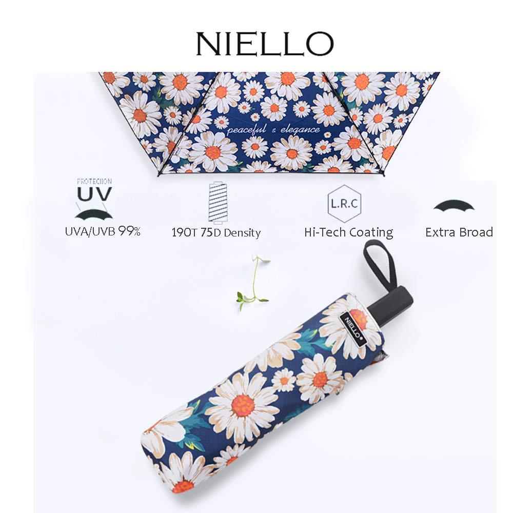 Folding Compact Travel Umbrella Waterproof/Sun Block/Windproof Double Canopy Daisy