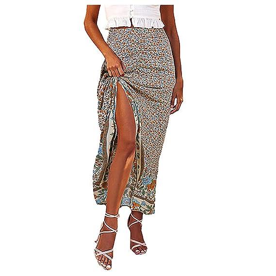 Vectry Faldas Mujer Moda Mujer Estampado Floral Dobladillo ...