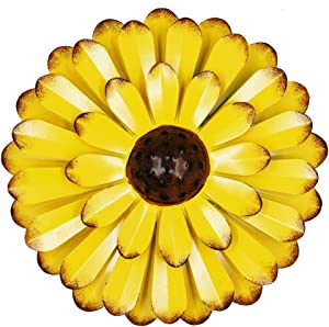 "Zcaukya Large Metal Flower Wall Decor, 13"" Flower Art Wall Hanging for Indoor Outdoor Home Bedroom Office Garden (Yellow)"