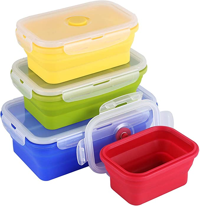 4 Sets Of Four-Color Food-Grade Silicone Lunch Box,Foldable Food Storage Container With Lid 1200ml/800ml/500ml/350ml