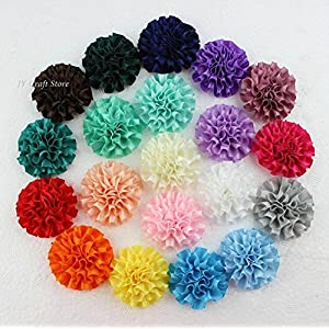 ShineBear 23color U Pick,50pcs/lot Big Cabbage Satin Puff Flowers, 2inch Carnation Flower Headband Supplies, Hair Bow Supplies 27