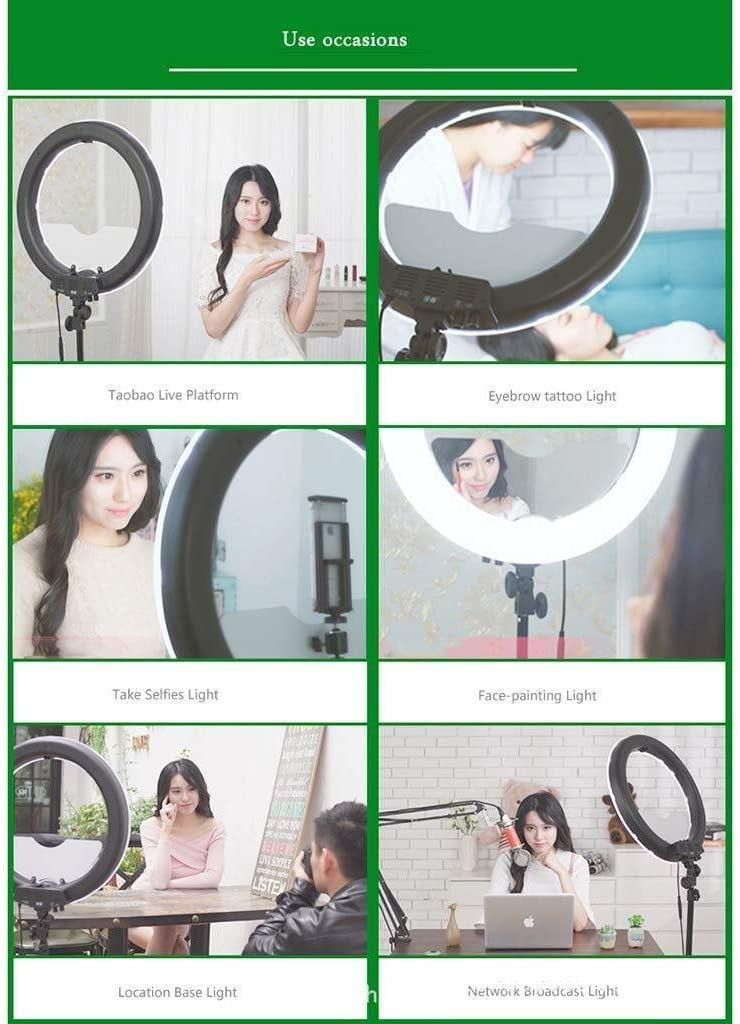 18 Inch LED3200k-5500k Color Temperature Photography Live Fill Light Ring Light Simple Two-Color Ring Light Set with Bracket Stepless Dimming Ring Light