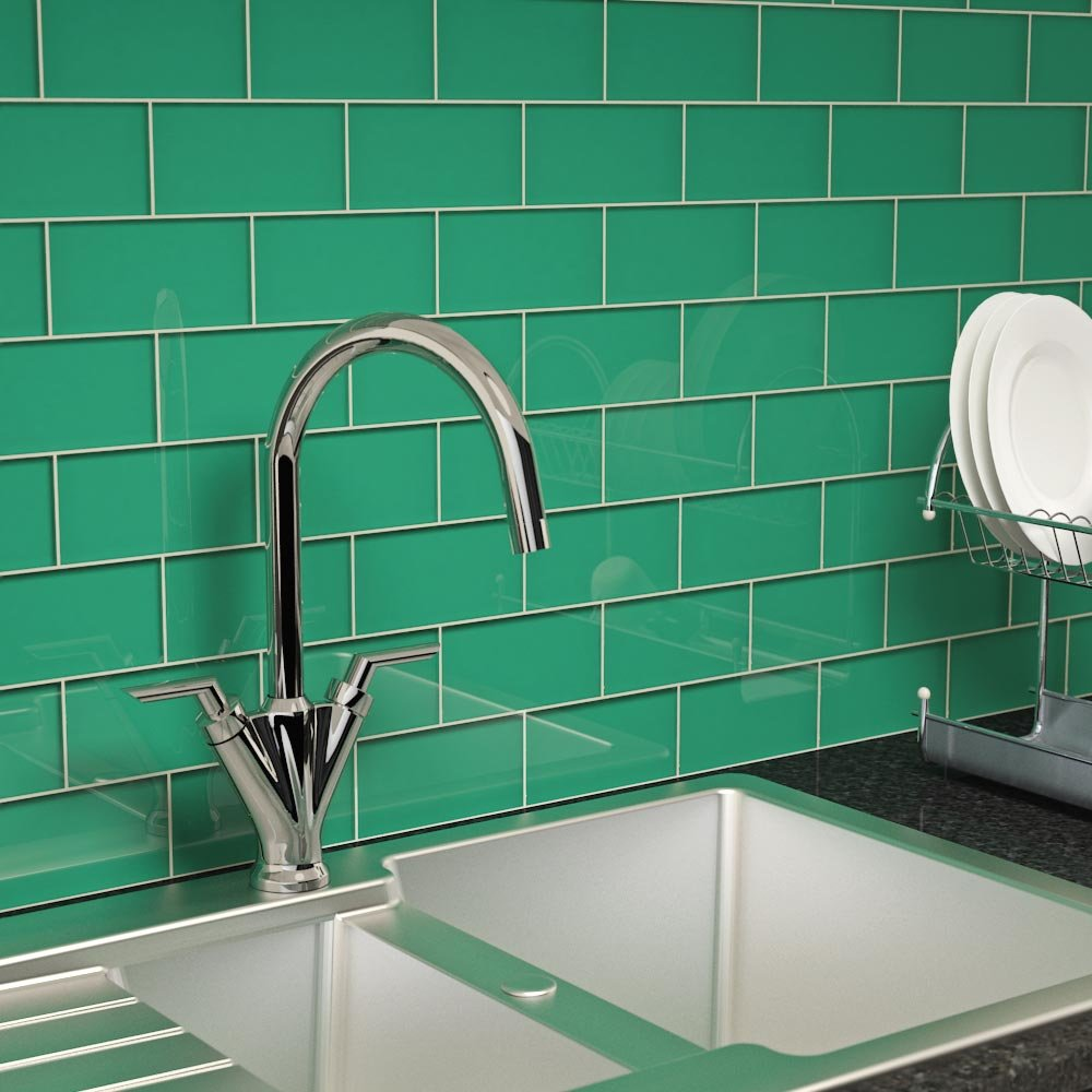 Giorbello Glass Subway Backsplash Tile, 3 x 6, Emerald Green, Sample ...