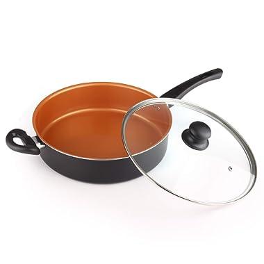 MICHELANGELO 5 Quart Copper Saute Pan With Lid & Helper Handle, Deep Skillet With Lid, Copper Frying Pan, Copper Deep Skillet with Lid, Large Skillet with Lid, Copper Pan with Lid 11Inch