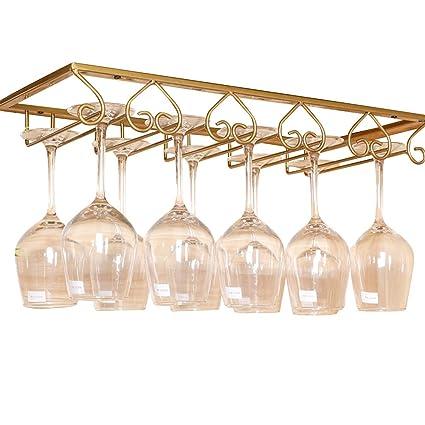 Lzttyee European Style Iron 5 Slot Heart Design Under Cabinet Stemware Rack  Hanger Hanging Wine
