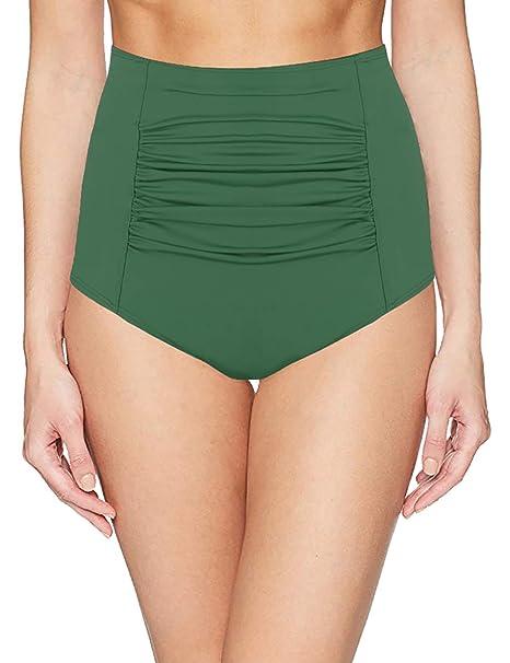 dd1f957130 Amazon.com: URqvick Women's Plus Size Shirred Front Bikini Bottom High Waist  Solid Tummy Control Tankini Swim Bottom: Clothing