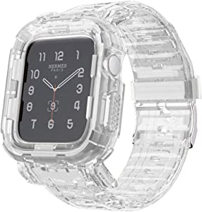 Tomcrazy Compatible for Apple Watch Bands Case 44mm/42mm/40mm/38mm, Crystal Clear Transparent Integrated Bumper Sports Wristband Strap iWatch Series 6 /SE/5/4/3/2/1 (Crystal Clear, 42mm/44mm)