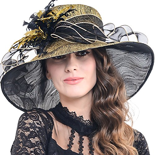 Church Hat Hat Dress - FORBUSITE Kentucky Derby Church Hats for Women Dress Wedding Hat (Feather-Gold)