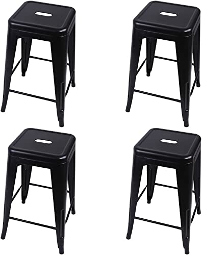 GIA Set_4_BK Toolix 24-Inch Counter-Height Backless Stool, 4-Pack, Black