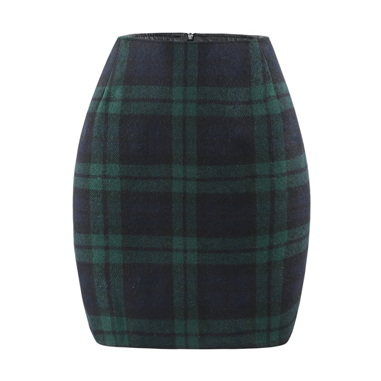 Haoduoyi Women's Soft High Waist Plaid A Line Zip Up Bodycon Party Mini Skirt