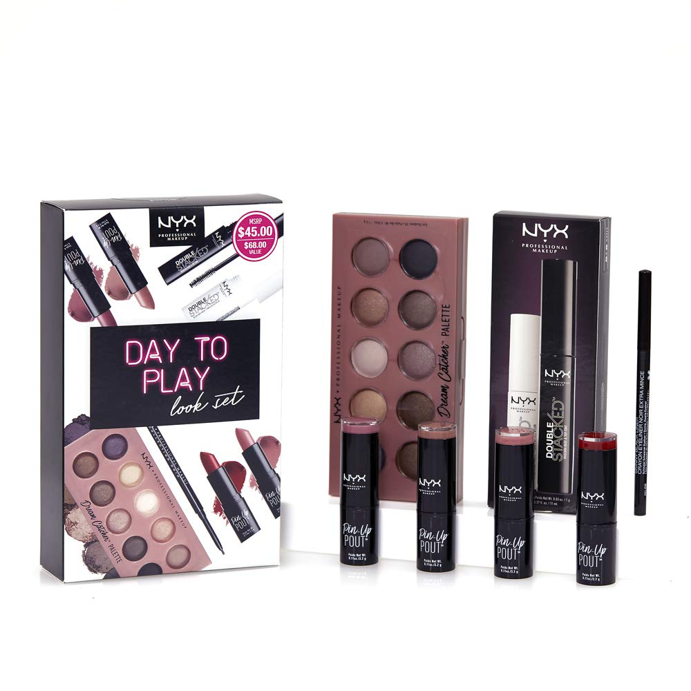NYX PROFESSIONAL MAKEUP Day to Play Look Set with 1 Eyeshadow Palette, 1 Skinny Black Liner, 1 Double Stacked Mascara, 4 Pin-up Pout Lipstick Shades (7 Count)