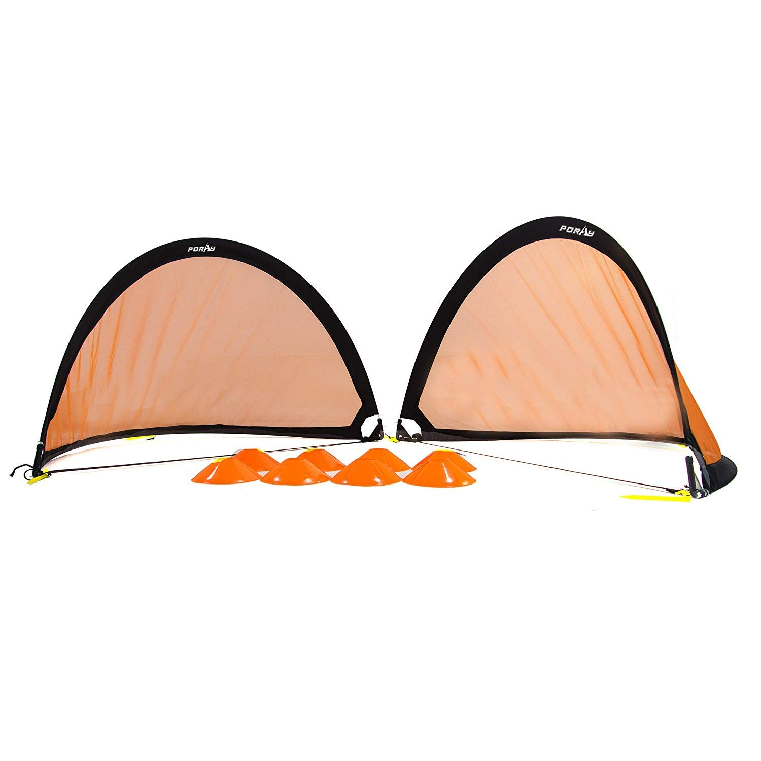 Poray Soccer Goal for Kid,Easy-up Set of Two 2 Portable 4FT Goal,Pop-up Soccer Nets with 210D Oxford Carry Bag and 8 Field Marker Cones Extra Metal Pegs. Fun for Parks or Backyard Training (Black) Poray sports
