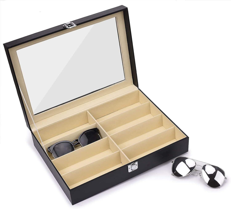 Sunglasses Eyeglass Organizer 8 Slot Eyeglass Storage Box Multifunction Sunglasses Eyewear Jewelry PU Leather Display Case for Women Men
