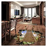 3D Cliff Wood Ladder Floor Wall Sticker, Buedvo Removable Mural Decals Vinyl Art Living Room Decor