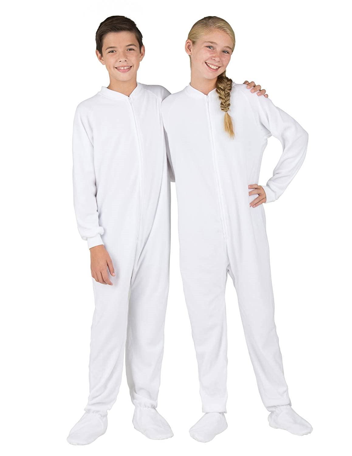 Footed Pajamas - Arctic White Kids Fleece