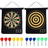 CX L SUM Magnetic Dart Board, Indoor Outdoor Dart Games for Kids with 12pcs Magnetic Darts, Safety Toy Games, Rollup Double Sided Board Game Set for Gifts