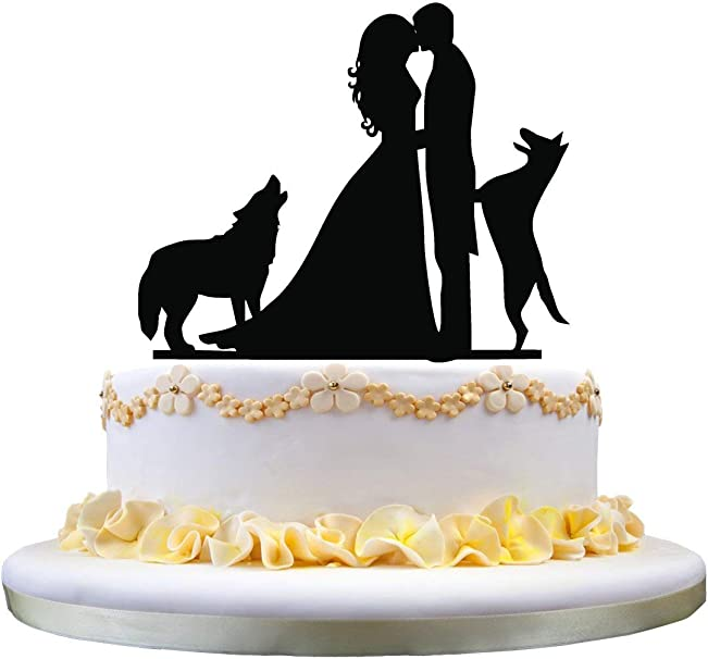 Wedding Cake Topper Silhouette Couple Kissing With Two Dogs Cake Decoration Amazon Co Uk Kitchen Home