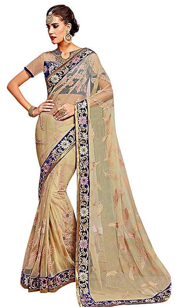 1455ff78d3 ... Beige INMONARCH Womens Fashionable Beige Net Wedding Saree SSR9614