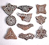 PARIJAT HANDICRAFT Printing Stamps Mughal Design Wooden Block (Set of 10) Hand-Carved for Saree Border Making Pottery Crafts Textile Printing