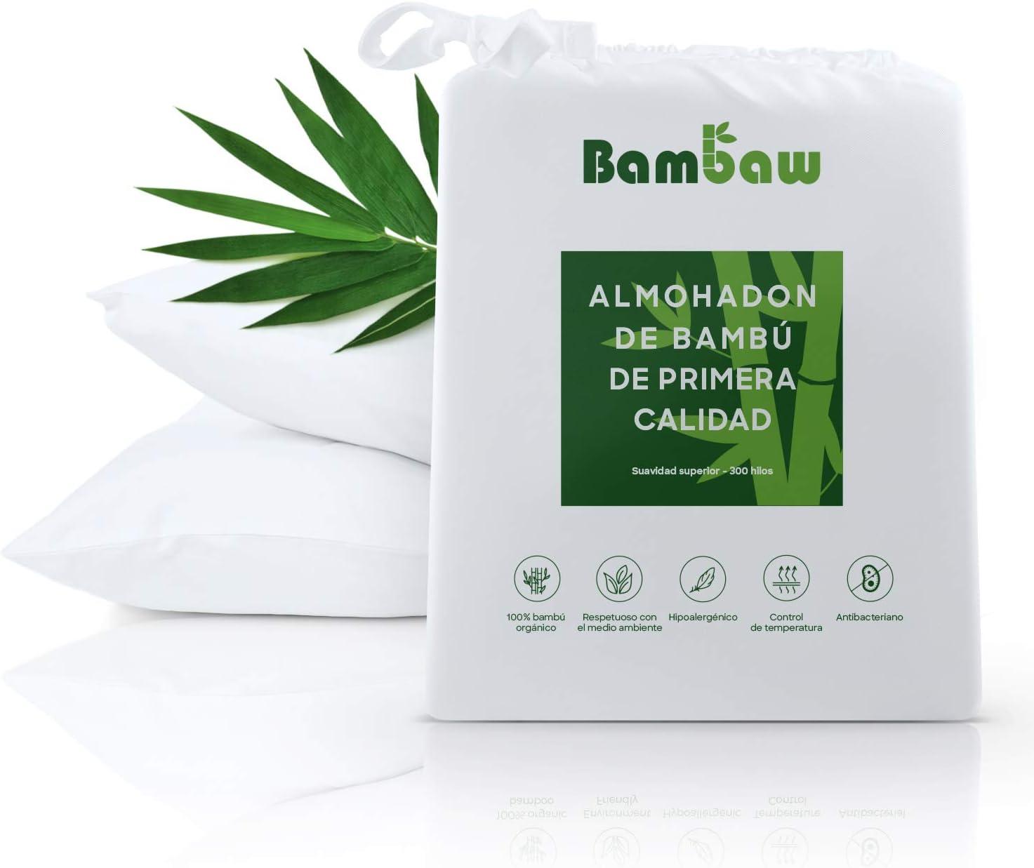 Bambaw Fundas de Almohada de Bambú   Tacto Suave y Fino   2 x Funda Almohada   Fundas Almohada Antiácaros   Tejido Transpirable   Pillow Case   Blanco - 50x75   Fundas de Cojín