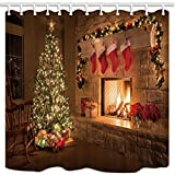 NYMB christmas Shower Curtains Pine Tree Fireplace Cocks, Mildew Resistant Polyester Fabric Bath Curtain, Shower Curtain Set with Hooks, 69X84in, Extra Long, Bathroom Accessories