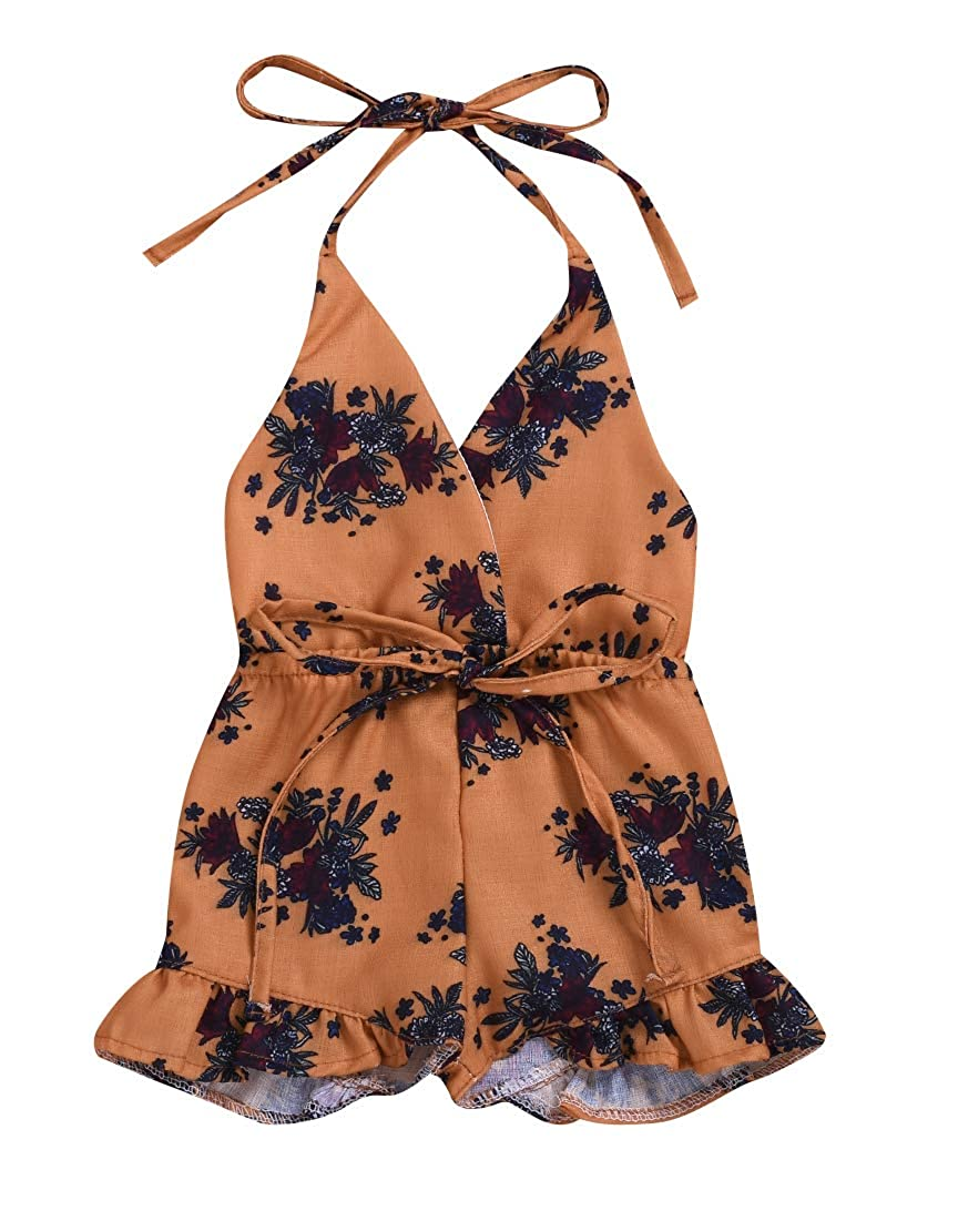 Baby Girls One-Pieces Halter Lace Sleeveless Floral Romper Jumpsuit Sunsuit Outfit Clothes