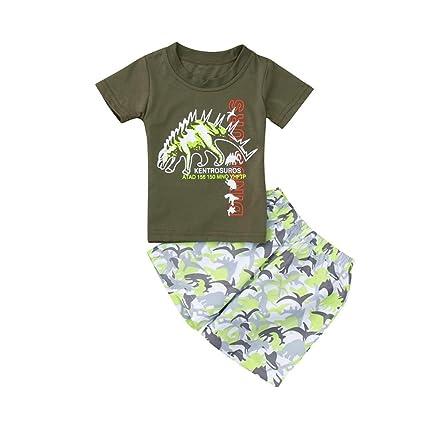 5c7fd509fa4 Amazon.com  Wesracia Summer Boys Short Sleeve Cartoon Dinosaur Printing T-shirt  Top + Pants Set (90