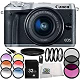 Canon EOS M6 Mirrorless Digital Camera with 15-45mm Lens (Silver) 9PC Accessory Bundle – Includes 32GB SD Memory Card + MORE - International Version (No Warranty)