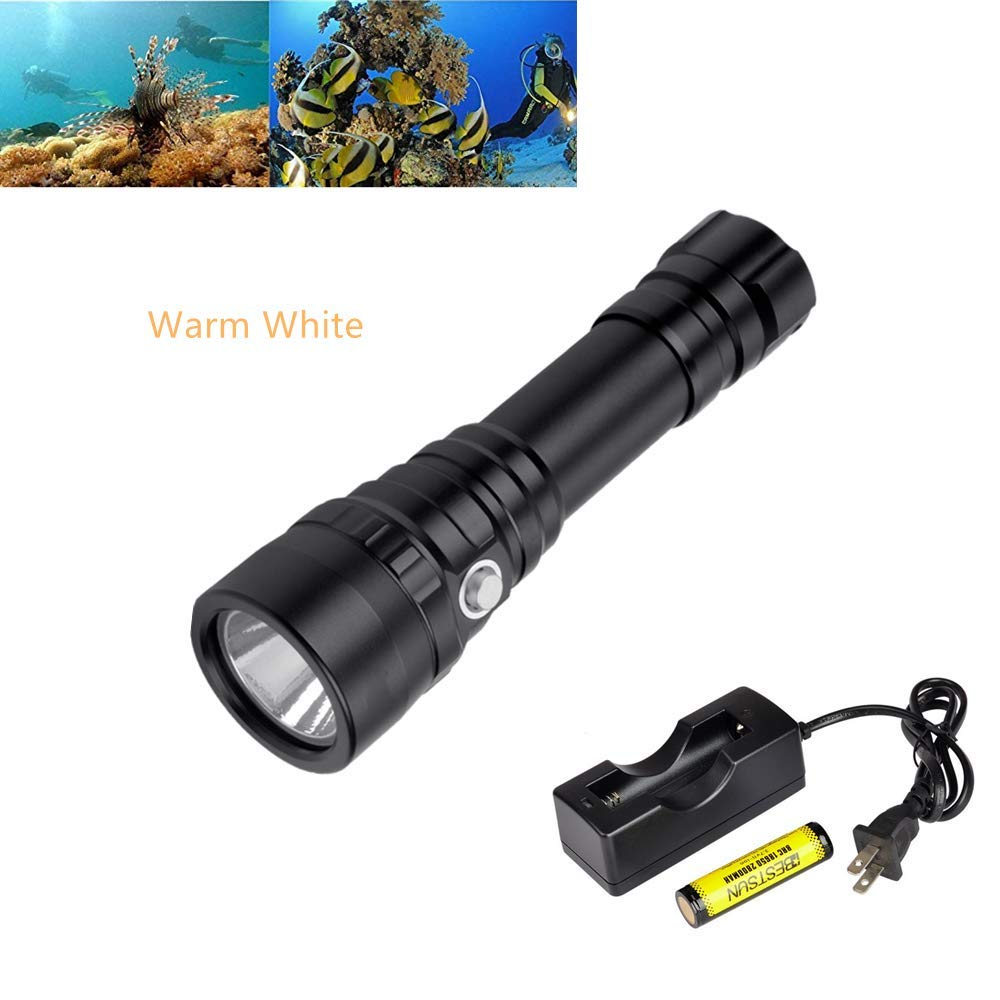BESTSUN Diving Flashlight, 1200 Lumen CREE XPL 3000K LED Underwater Flashlight Submarine Light Scuba Safety Dive Light for Outdoor Under Water Sports