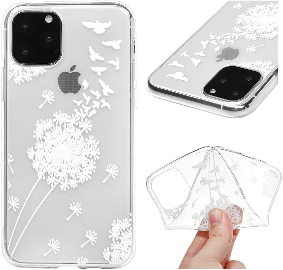 iPhone 11 Pro Case Ultra Thin Crystal Clear Reinforced Corners Soft TPU Bumper Silicone Case with Stylish Cute Pattern Protective Phone Case Cover for iPhone 11 Pro 5.8 inch White Feather Bird