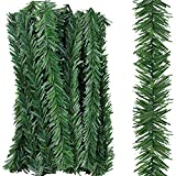 Supla 24 Pcs Artificial Christmas Wired Pine Garland Ties Faux Pine Greenery Stems Decorative Garland Twist Ties 12' x 2' (LXW) in Green for Holiday Season Decorations Christmas Craft Gift Wrapping