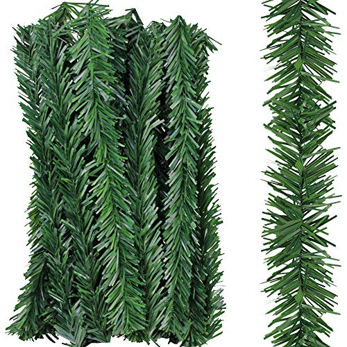 "Supla 24 Pcs Artificial Christmas Wired Pine Garland Ties Faux Pine Greenery Stems Decorative Garland Twist Ties 12"" x 2"" (LXW) in Green for Holiday Season Decorations Christmas Craft Gift Wrapping"