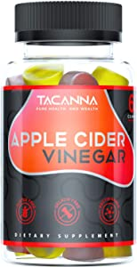 Apple Cider Vinegar Gummies Gluten Free Non GMO No Gelatin All Natural Apple Flavor for Immunity Support and Appetite Management Total Gentle Colon Cleanse with The Mother
