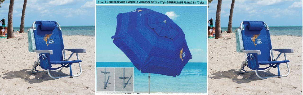 2 Tommy Bahama Backpack Cooler Beach Chairs & 1 Beach Umbrella (2 Blue Chairs + 1 Blue Umbrella) Blue