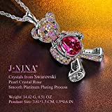 J.NINA Buy 1, Save USD 14.99-6WNMWNAH Teddy Bear Necklaces for Women Birthstone Pendant Necklaces Jewelry with Swarovski Crystals Birthday for Girlfriend Granddaughter Girls Sisters Niece