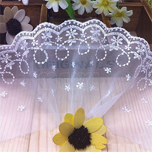 - 3 Yard Polyester Net Scalloped Floral Mesh Lace Edge Trim Ribbon 4