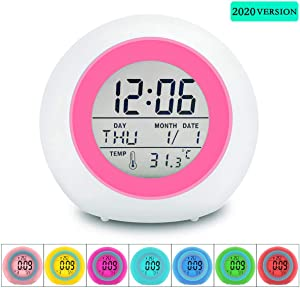 Gifts for 7-10 Year Olds Girls, Alarm Clock for Kids 4-12 Year Old Boys Gifts Digital Alarm Clock for Heavy Sleepers Easter Basket Stuffers Kids Room Decor Clock Radios for Bedroom Wake Up Light Pink