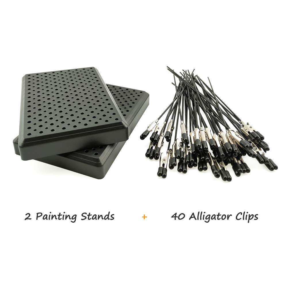 Model Painting Alligator Clip Sticks 40PCS with Stand Base 2PCS for Airbrush Hobby Model Parts by MAY.T (Image #2)