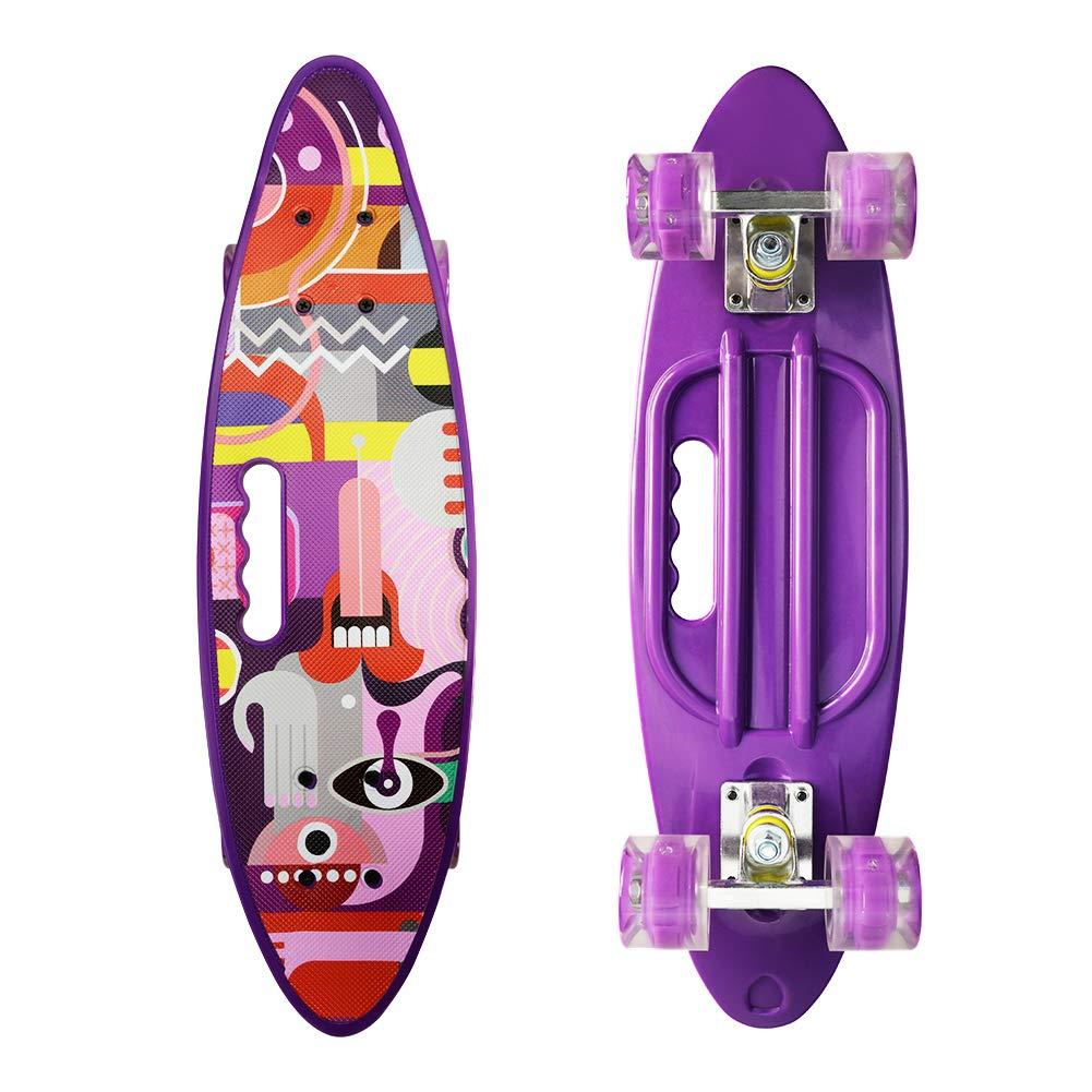 Complete 24'' Cruiser Skateboards - Mini Skateboard with Sturdy Deck Plastic Banana Board with Colorful LED Wheels 220Lbs,Graffiti