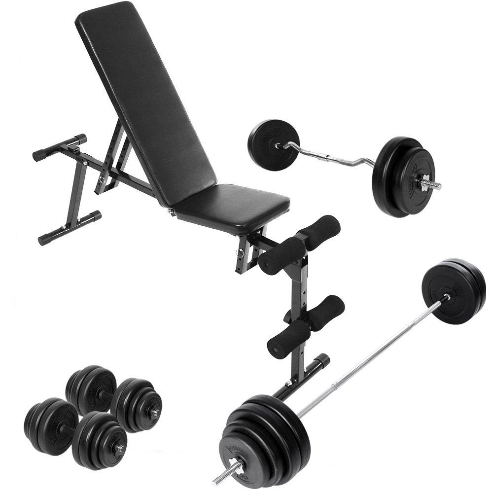 Physionics - Banco de peso multi-ajustable con 2 mancuernas + barra curvada para gimnasio: Amazon.es: Deportes y aire libre
