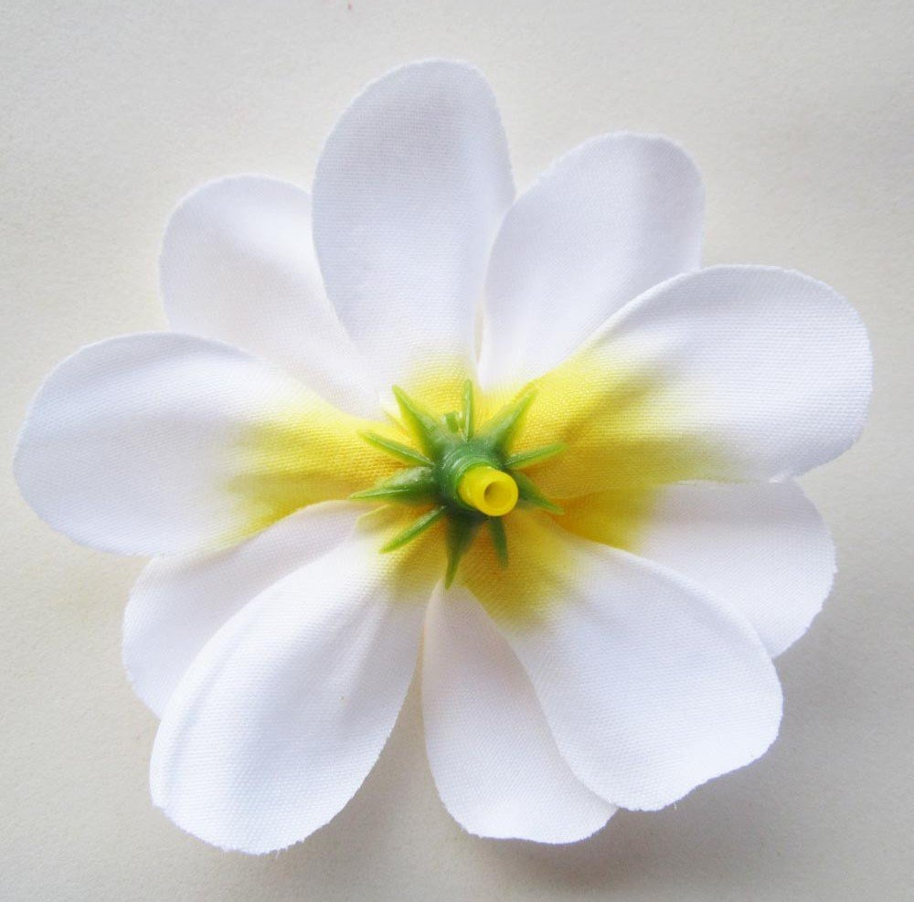 12 White Plumeria Frangipani Silk Flower Heads 3 Artificial