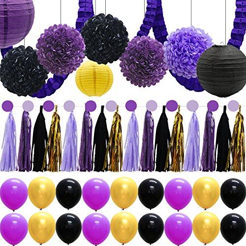 48pcs Balloons Paper Lanterns Tissue Pom Poms Flowers Purple Party Decorations Tassel Garland Banner Clover Garland for Baby Birthday Bridal Shower Graduation Wedding -